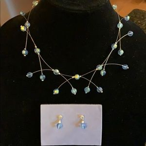 Avon Jewelry - Beaded illusion light sapphire necklace & earrings